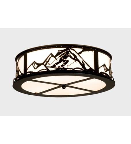 Meyda Tiffany 15435 Black  Craftsman / Mission Four Light Flush Mount