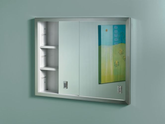 Nutone B703850 N A Sliding Door Recessed Medicine Cabinet With Two Adjule Steel Shelves B703850x