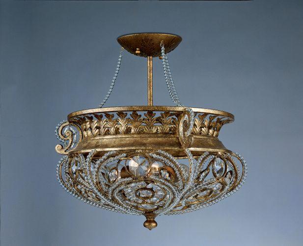 ... Crysta Semi Flush Mount in Gold Finch | Crystal Chandelier Ceiling Fan