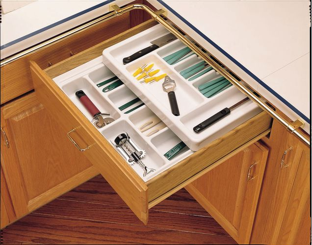 Rev-A-Shelf RT 18-4F Glossy White RT Rolling Tray Series Deep Cutlery