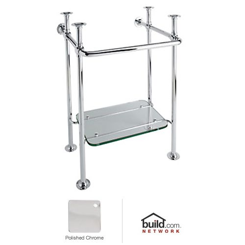... Stand with Glass Shelf in Polished Chrome ~ Bathroom Pedestal Sinks
