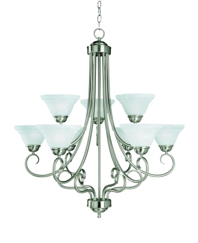 Savoy House 169-9-SN Satin Nickel Glacier Tuscan 9 Light Up Lighting Chandelier from the Glacier Collection 169-9