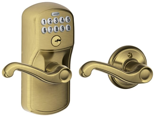 schlage fe575ply609fla plymouth keypad entry with auto lock door lever set wi. Black Bedroom Furniture Sets. Home Design Ideas