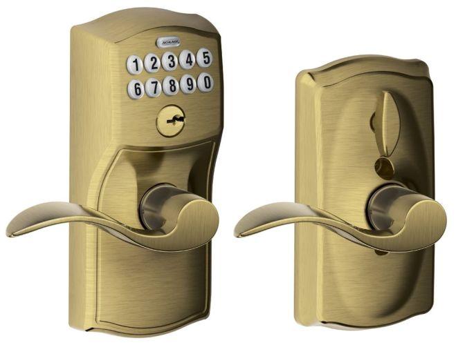 schlage fe595 cam acc antique brass camelot keypad entry with flex lock door. Black Bedroom Furniture Sets. Home Design Ideas