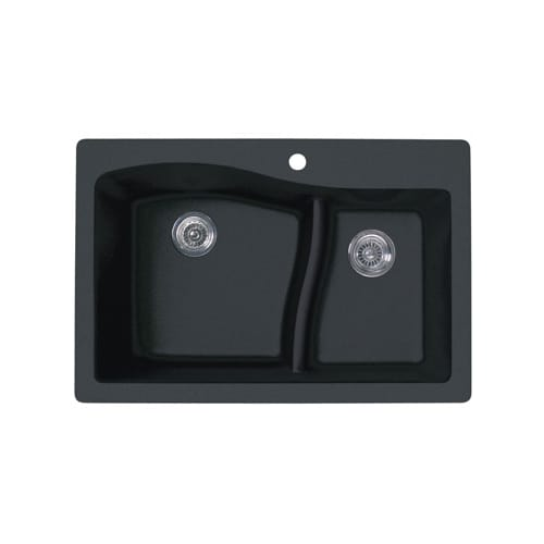 Swanstone QZLS-3322.077 Granite Large/Small Bowl Kitchen Sink, Nero