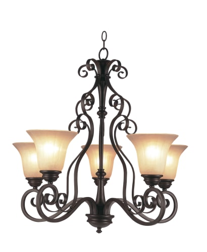 Trans Globe Lighting 21055-U ROB Rubbed Oil Bronze New Century Five Up Light Garland Single Tier Chandelier from the New Century Collection 21055-U