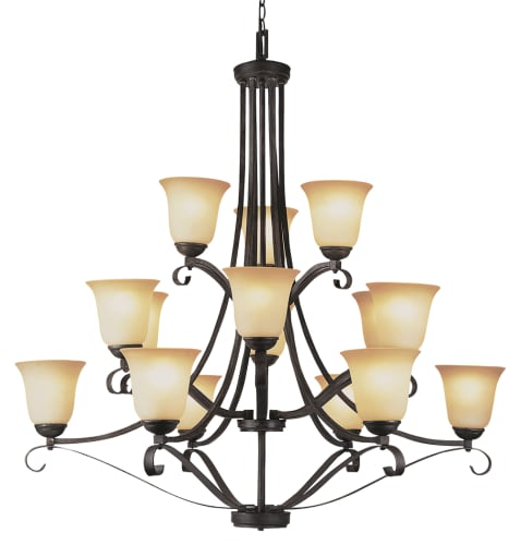 Trans Globe Lighting 3688 ABR Antique Brown Rust New Century Traditional / Classic 15 Light Up Lighting Chandelier from the New Century Collection 3688