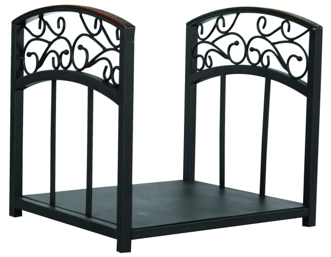 Uniflame A1251 Black Wrought Iron Fireplace 17 High Black Cast Iron Cat Andirons With Reflective