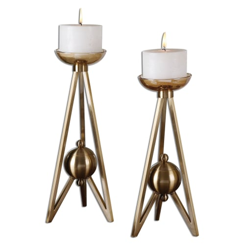 Uttermost 19845 Bronze Andar Andar Coffee Bronze Candle Holders -