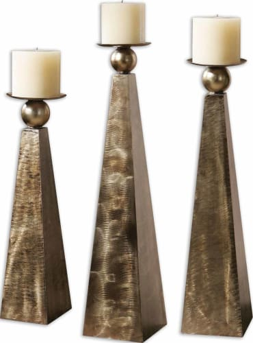 Uttermost 19652 Rustic Bronze  Cesano Set of 3 Candle Holders