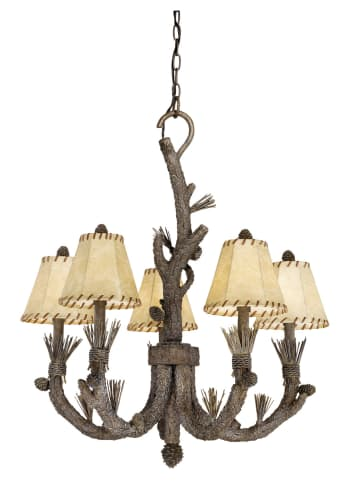 Vaxcel Lighting AS-CHS005PT Pine Tree Aspen Rustic / Country Five Light Up Lighting Chandelier from the Aspen Collection AS-CHS005