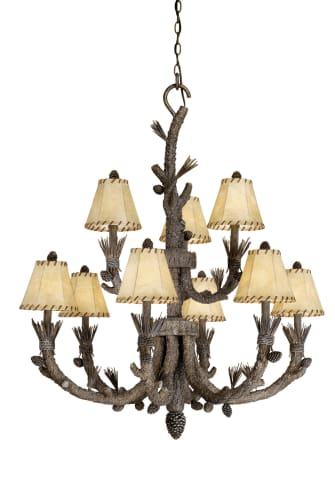 Vaxcel Lighting AS-CHS009PT Pine Tree Aspen Rustic / Country Nine Light Up Lighting Two Tier Chandelier from the Aspen Collection AS-CHS009