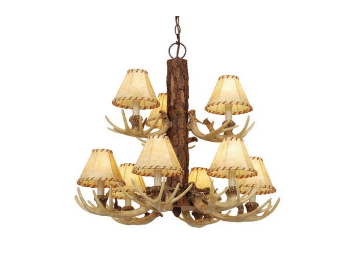 Vaxcel Lighting CH33009NS Noachian Stone Lodge Rustic / Country Nine Light Up Lighting Two Tier Chandelier from the Lodge Collection CH33009