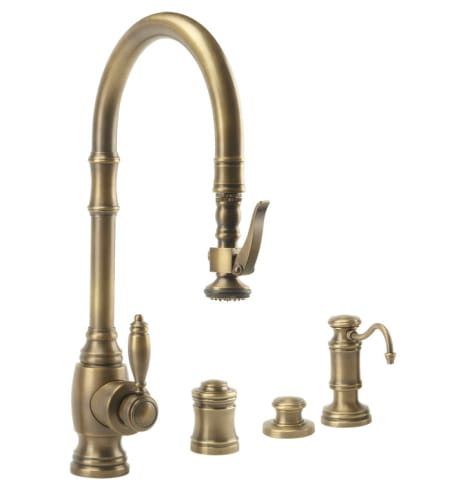 Waterstone 5600-4-AP Antique Pewter Annapolis Annapolis Kitchen Faucet Single Handle with Pullout Spray, Soap Dispenser, Air Gap and Air Switch 5600-4