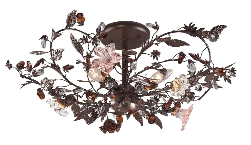 Elk Lighting 7046/3 Crystal Semi-Flush Ceiling Fixture