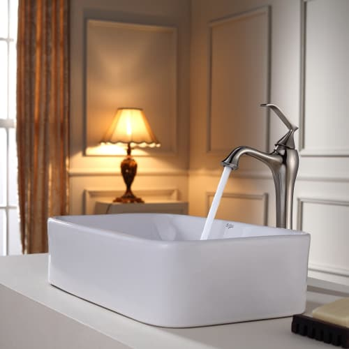 Kraus C-KCV-122-15000  Ceramic Vessel Bathroom Sink with KEF-15000 Ventus Vessel Faucet