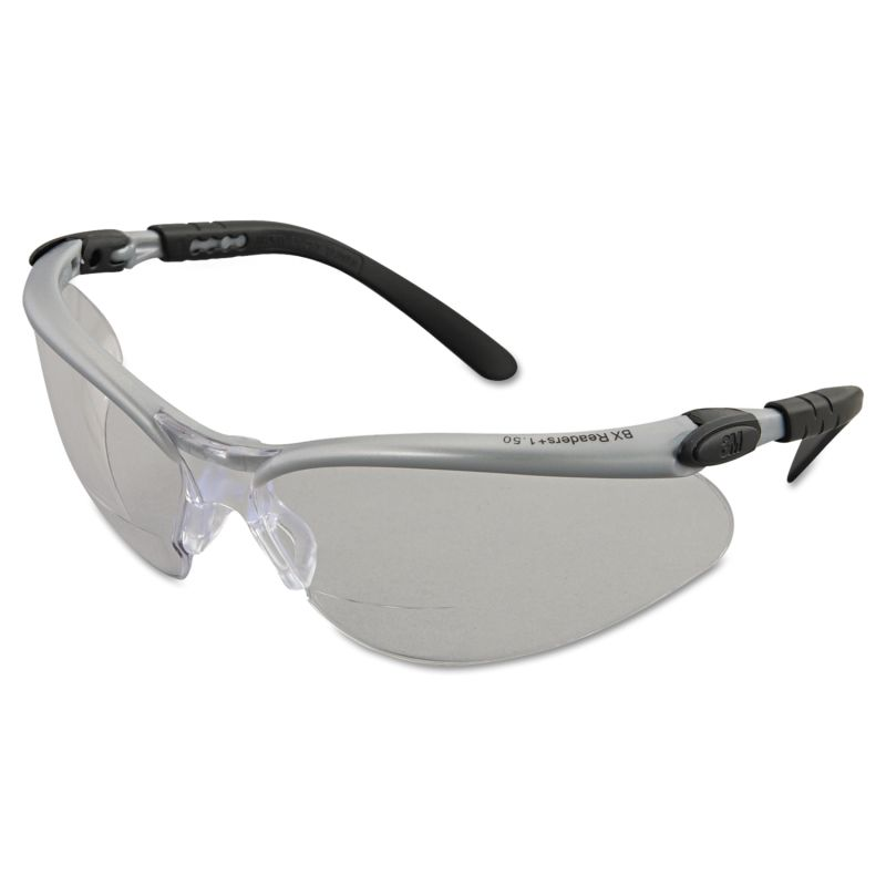 3M MMM113740000020 BX Molded Diopter Safety Glasses Silver Frame Clear Anti Fo