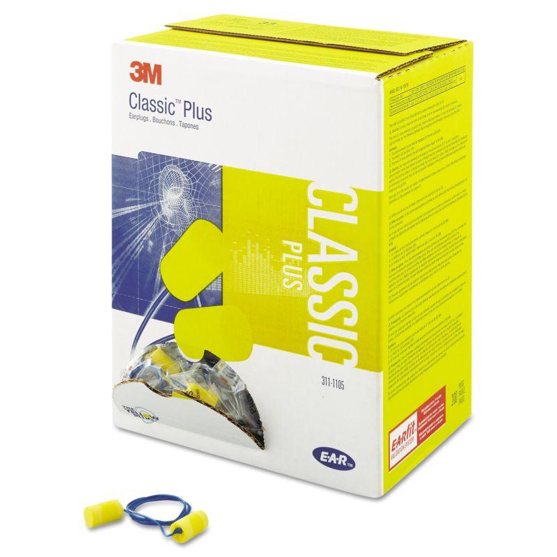 3M MMM3111105 E A R Classic Plus Foam Earplugs Corded NRR 33 Pillow Pak 200