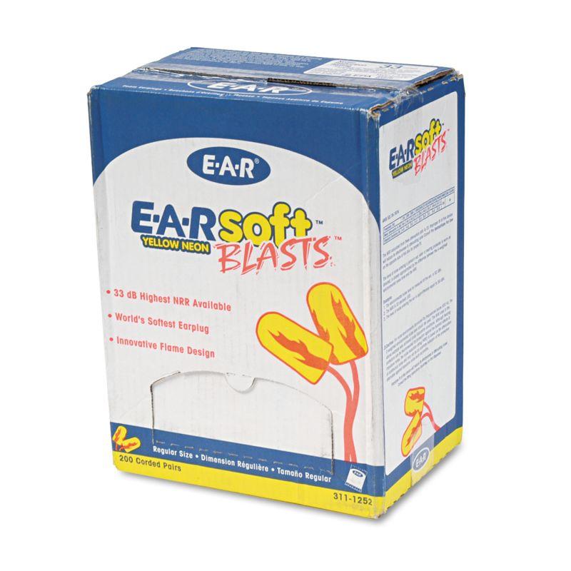 3M MMM3111252 E A Rsoft Blasts Earplugs Corded Foam Yellow Neon 200 Pairs