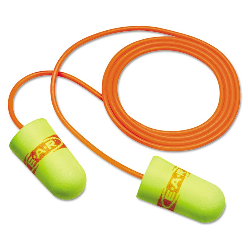 3M MMM3111254 E A Rsoft Superfit Single Use Earplugs Corded 33 NRR Yellow Red