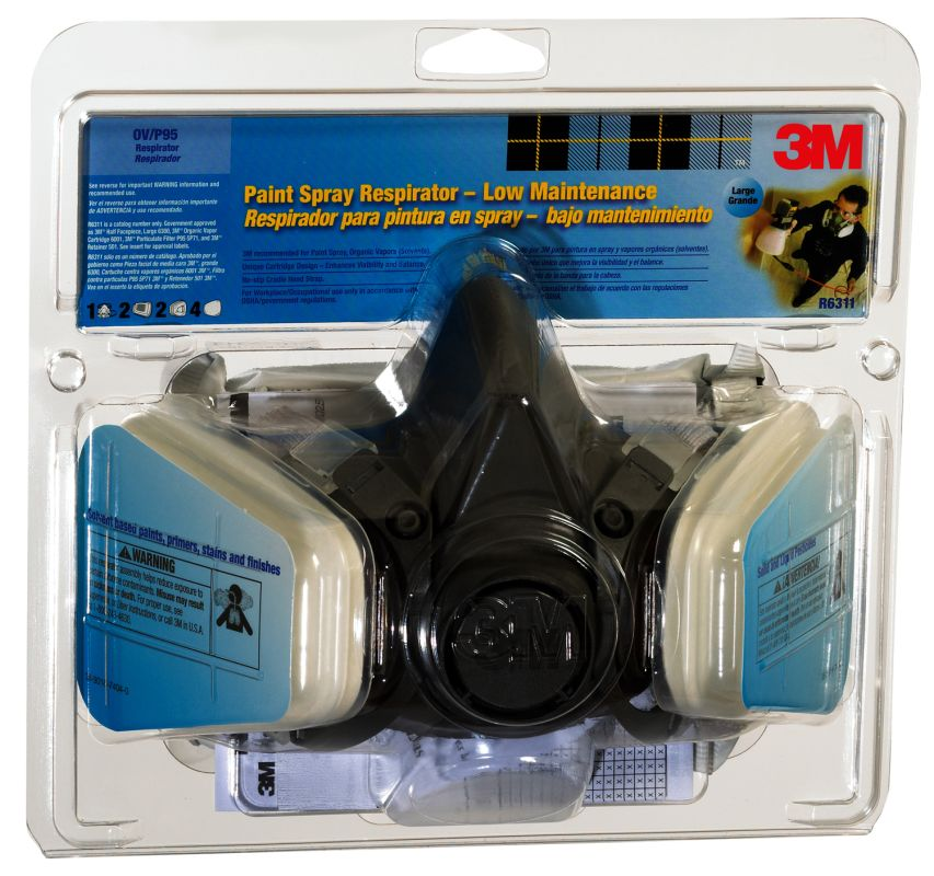 3M 6311 PA1 A Large Half Facepiece Paint Spray and Pesticide Respirator