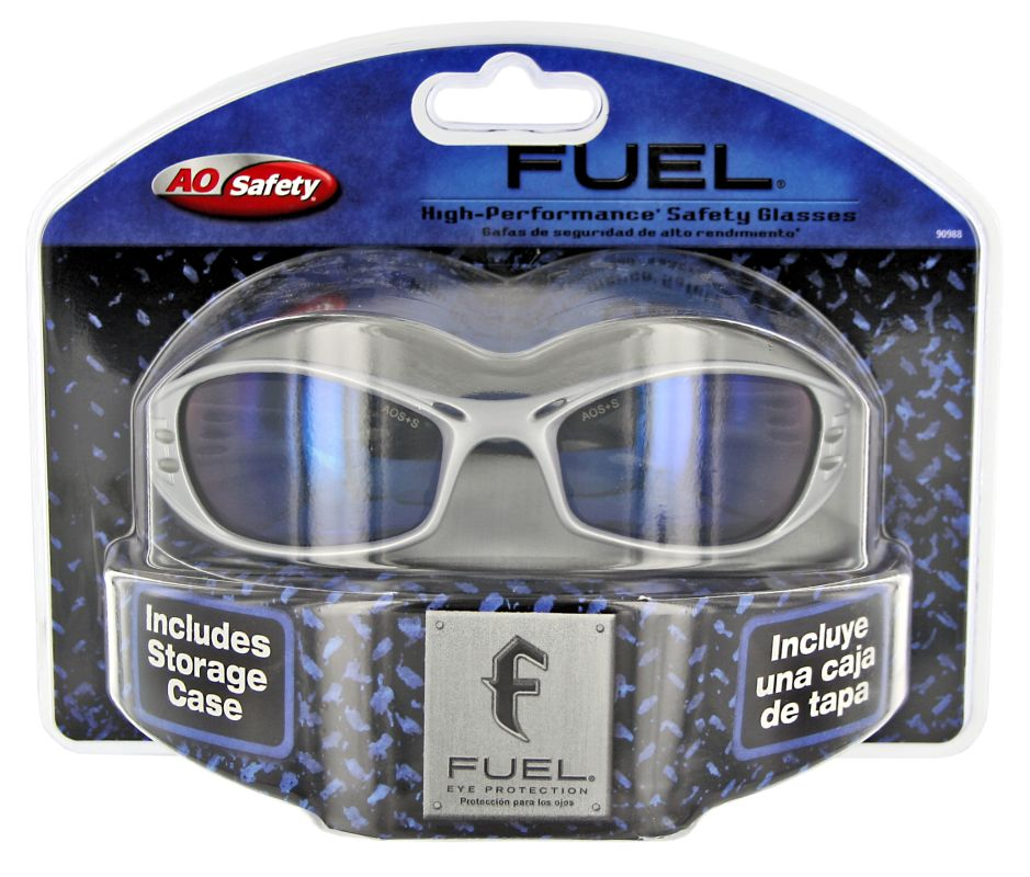 3M 90988 80025T Silver Frame with Blue Mirror Lens Fuel Safety Glasses