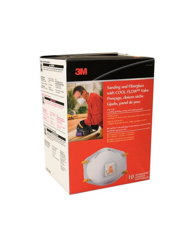 3M 8511HB1 C Sanding and Fiberglass Respirators With Cool Flow Valve 10 Pack