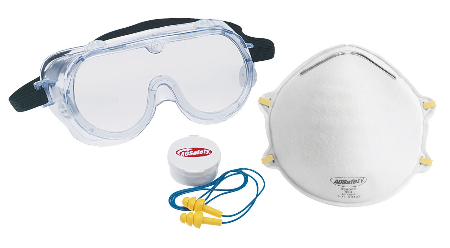 3M 93005 80030T Professional Safety Kit with Goggles Respirator and Ear Protect