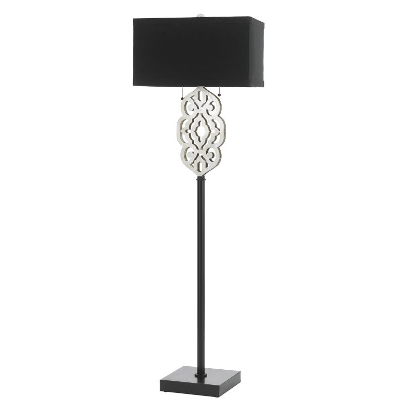 AF Lighting 8423-FL Grill Double Bulb 60 Inch Tall Floor Lamp with Black Shade photo