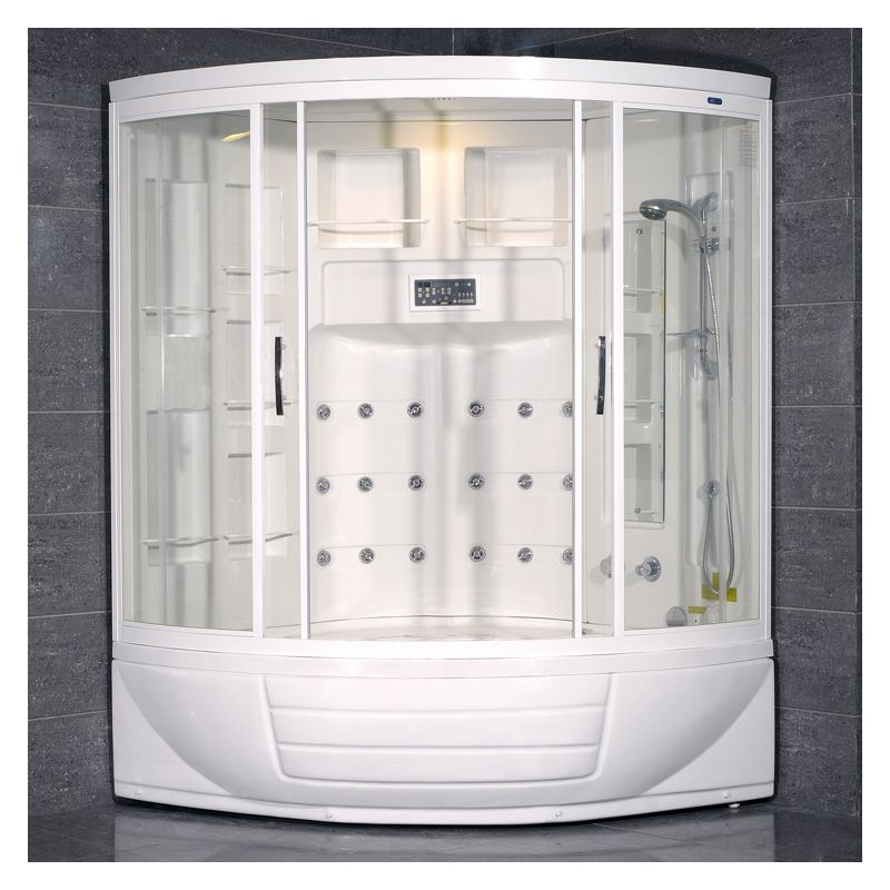 Ariel ZAA216 Steam Shower Enclosure and Whirlpool Bath Tub with Thermostatic Sho