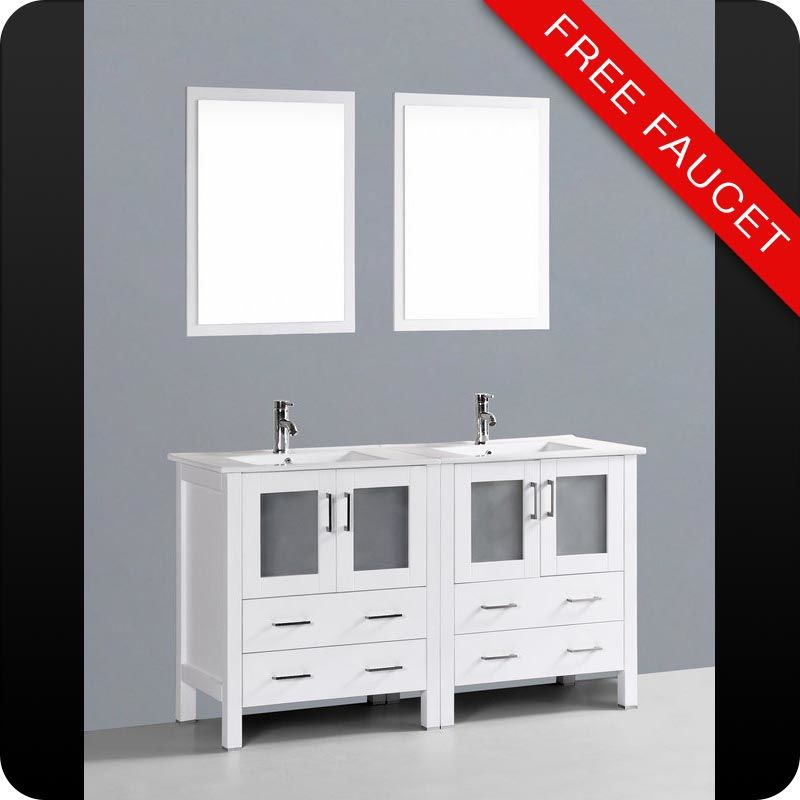bosconi a230u 60 free standing vanity set with wood cabinet