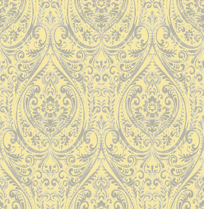 Brewster 1014-001868 Gypsy Yellow Damask Wallpaper