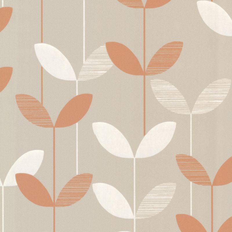 Brewster 2533-20203 Ernst Orange Linear Leaf Wallpaper