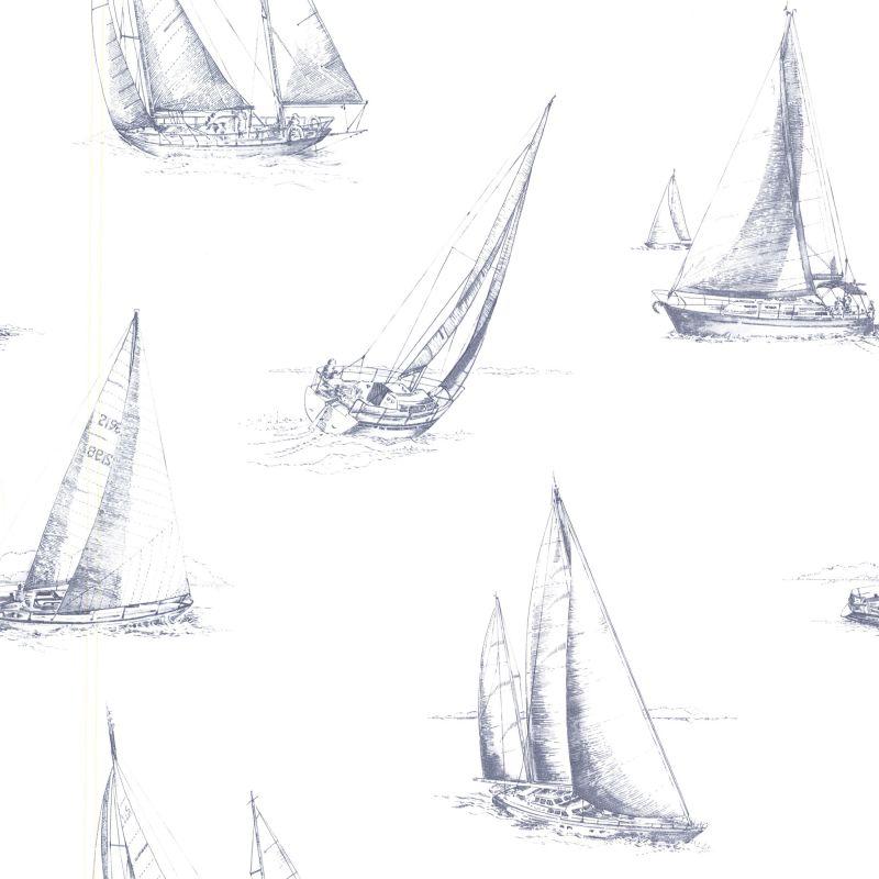 Brewster 2604-21200 Voyage Navy Sailboats Wallpaper