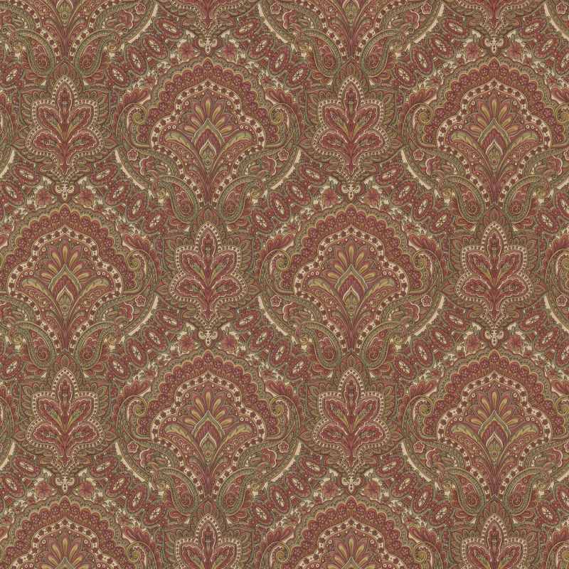 Brewster 2604-21218 Cypress Burgundy Paisley Damask Wallpaper