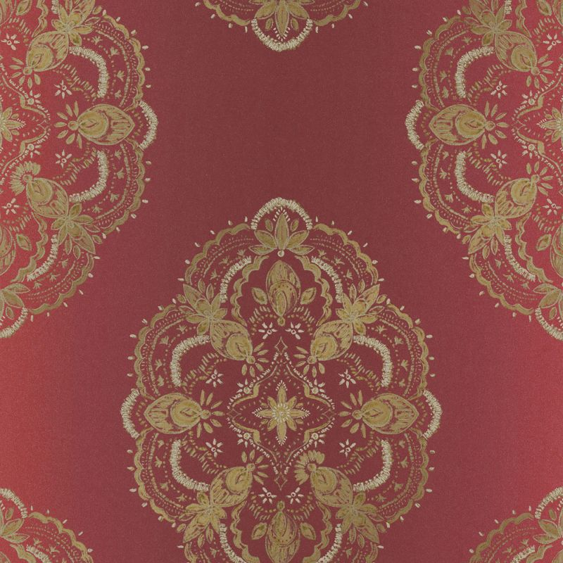Brewster 2618-21330 Mirador Burgundy Global Medallion Wallpaper
