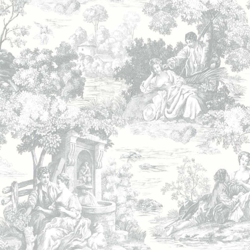 Brewster 2668-21510 Isabella Teal Toile Wallpaper