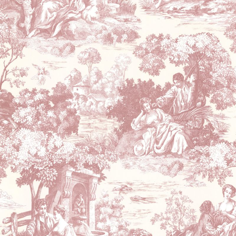 Brewster 2668-21511 Isabella Rose Toile Wallpaper
