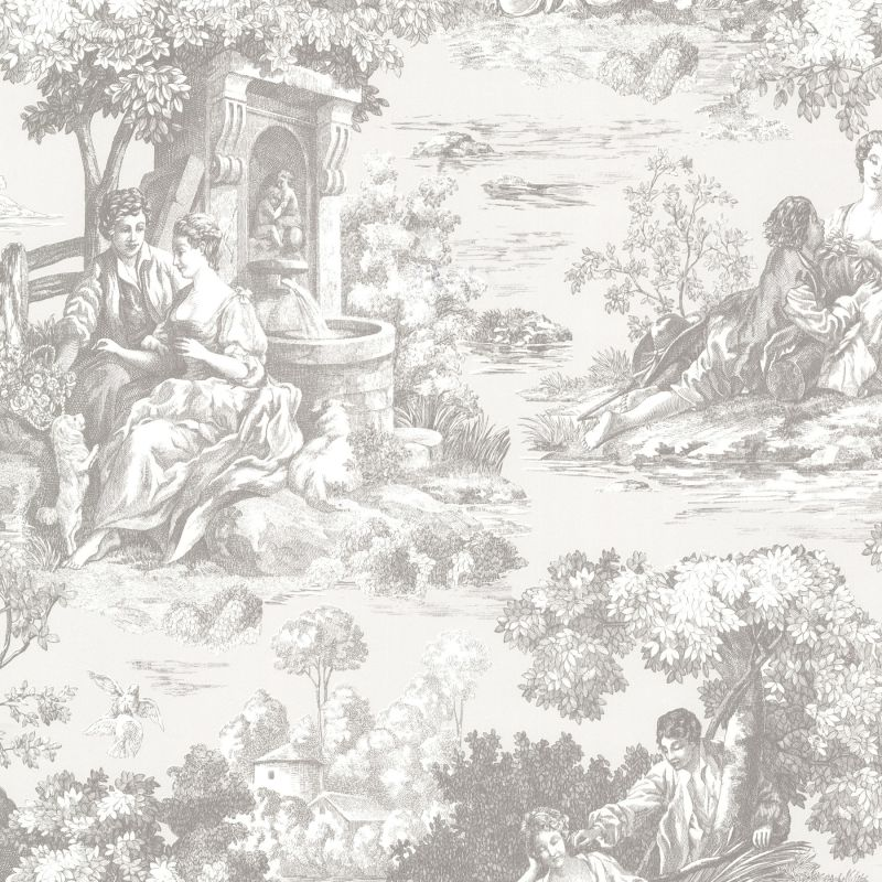 Brewster 2668-21512 Isabella Grey Toile Wallpaper