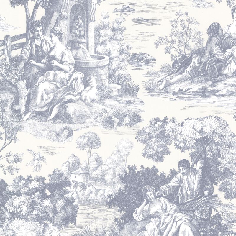 Brewster 2668-21513 Isabella Blue Toile Wallpaper