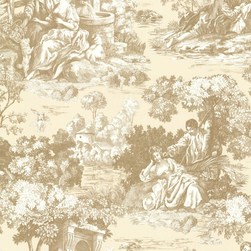 Brewster 2668-21514 Isabella Gold Toile Wallpaper
