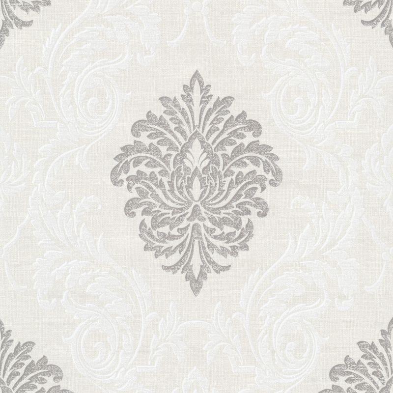 Brewster 495-69042 Rennie Silver Damask Wallpaper
