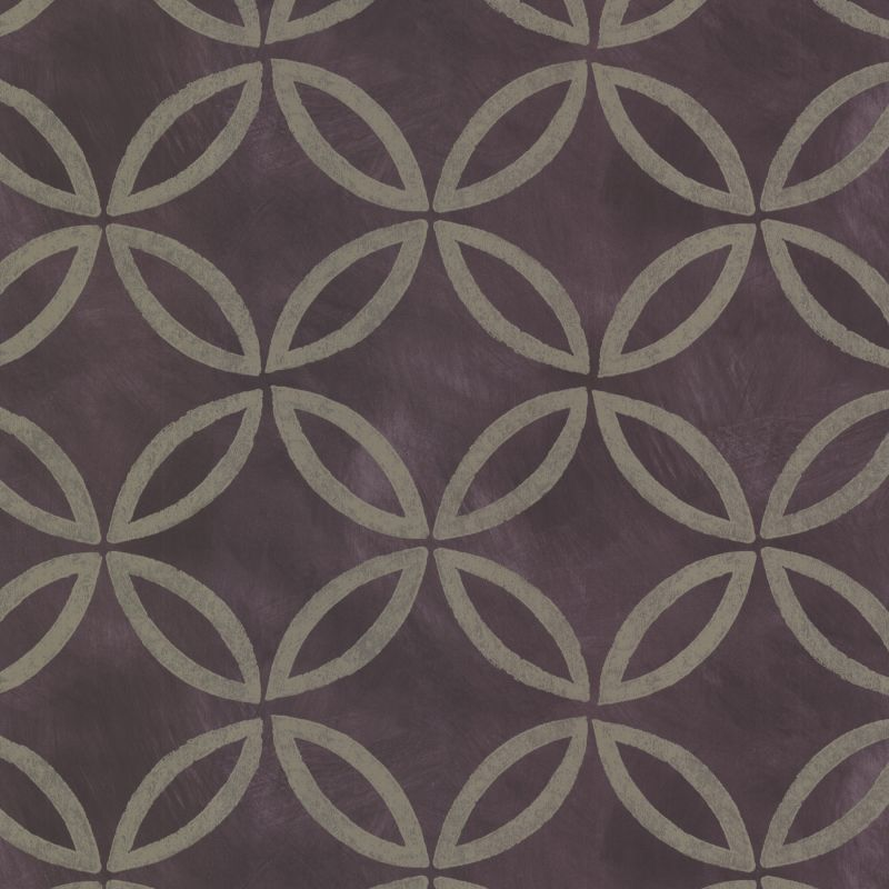 Brewster HZN43123 Cloverleaf Purple Geometric Wallpaper