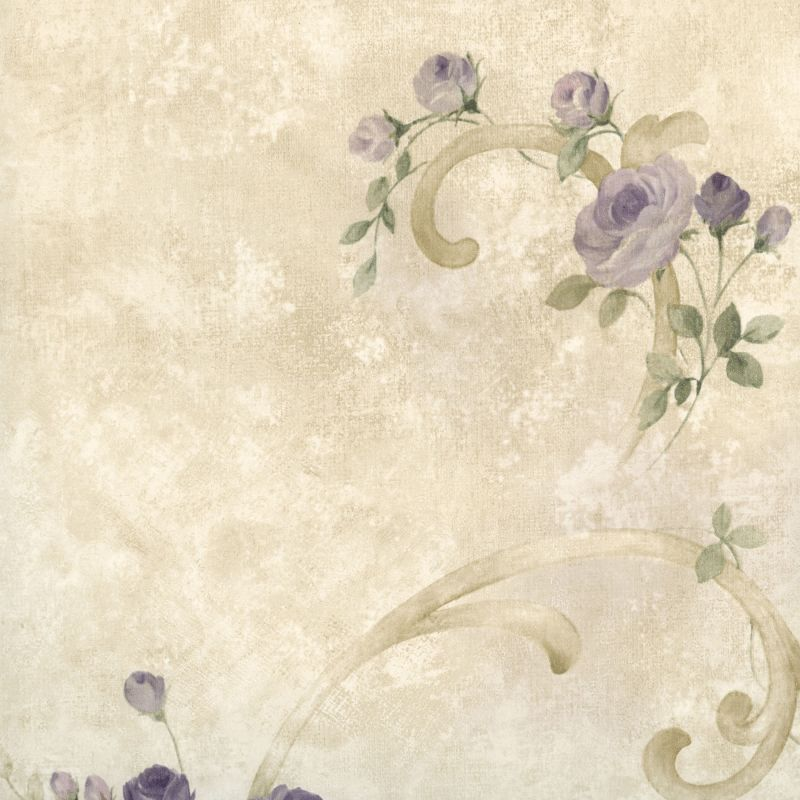 Brewster MEA77765 Escot Purple Tearose Acanthus Wallpaper