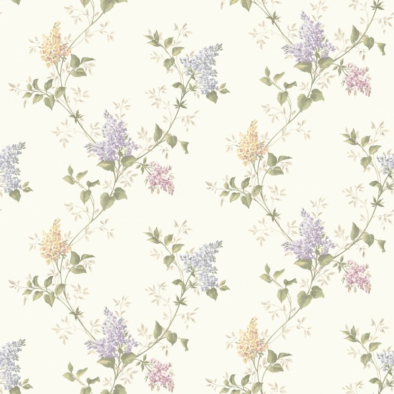 Brewster MEA79041 Ascott Purple Lilac Trail Wallpaper