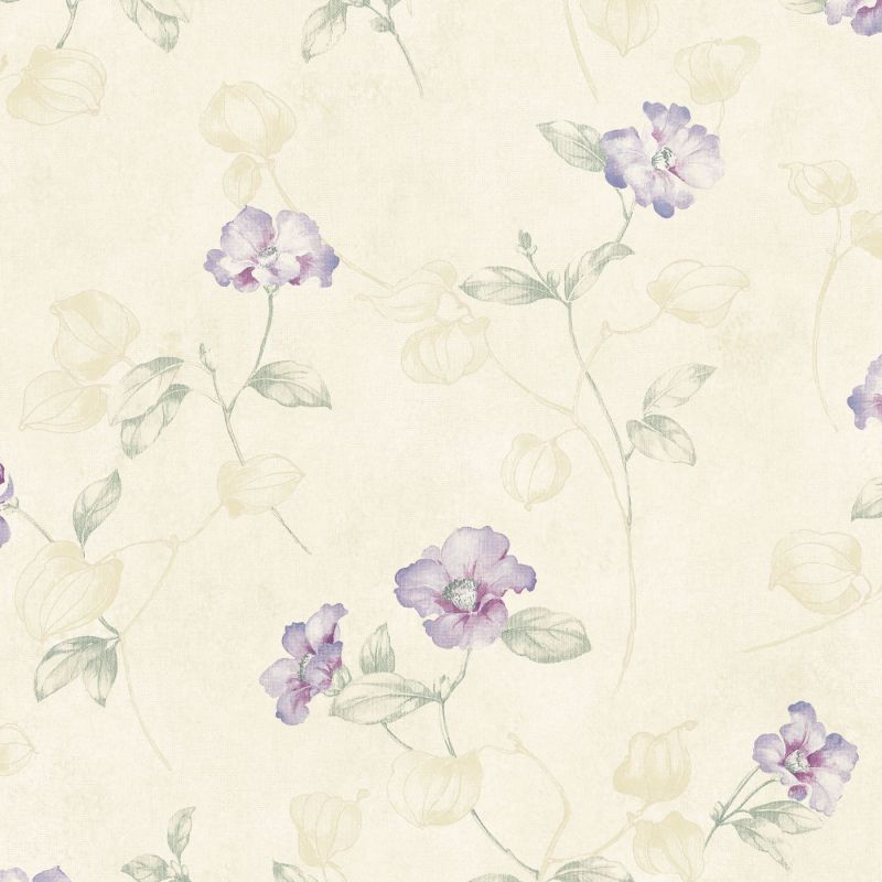 Brewster MEA79134 Surrey Purple Petunia Trail Wallpaper