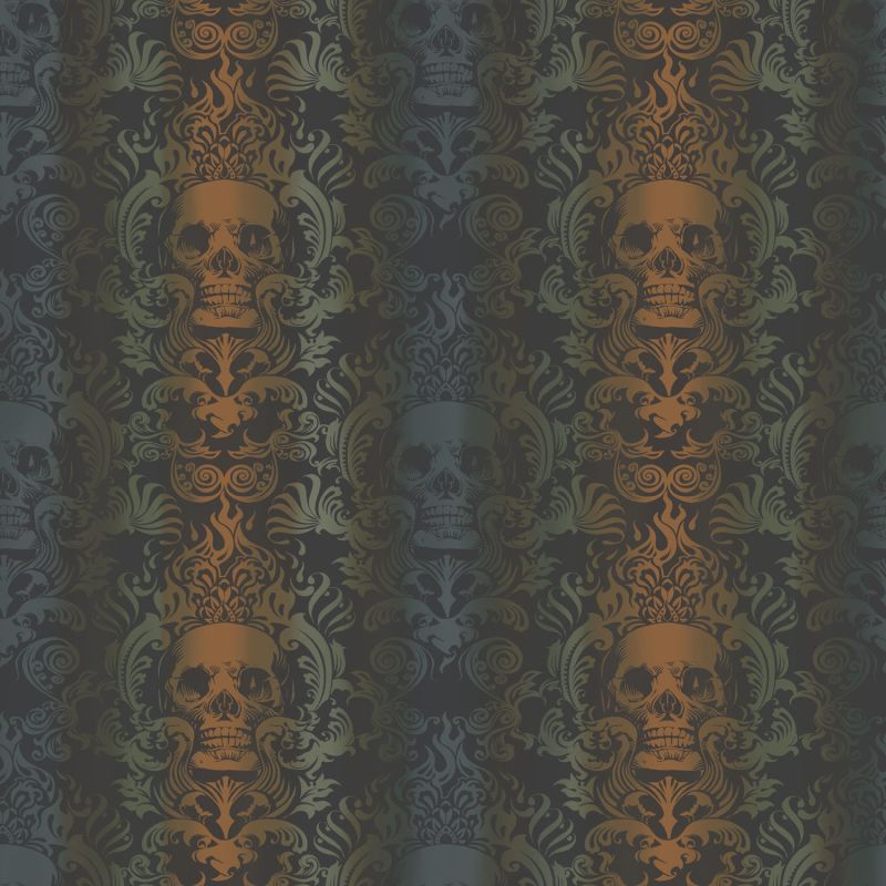 Brewster TOT47112 Luther Orange Skull Modern Damask Wallpaper