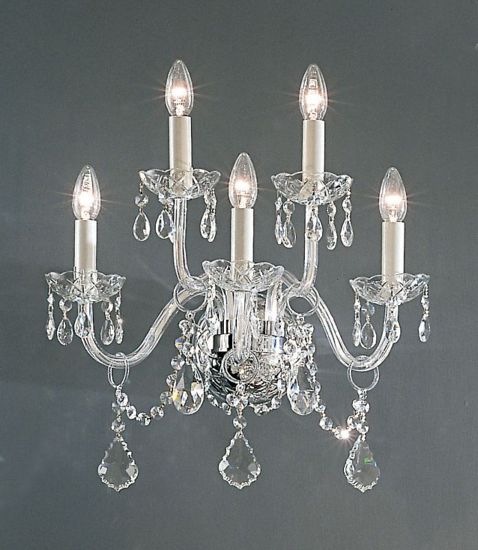 "Classic Lighting 8260-CH 18"" Crystal All Glass Wallchiere from the Bohemia Colle"