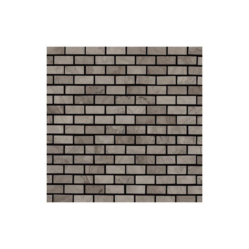 "Daltile M744-121BJMS1L Marble Silver Screen 1"" x 1/2"" Polished Brick Joint Multi"