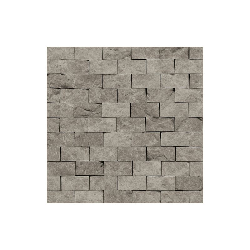 "Daltile M744-12SF1S Marble Silver Screen 2"" x 1"" Split Face Multi-Surface Mosaic"